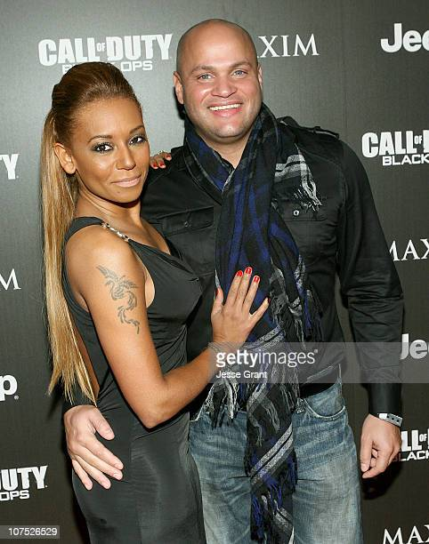 Melanie Brown and Stephen Belafonte attend the Jeep MAXIM and Call of Duty Black Ops Celebration of The 2010 Maximum Warrior at SupperClub Los...