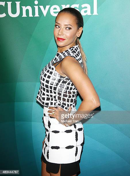 Melanie Brown arrives at the NBCUniversal's 2014 Summer Press Day held at Langham Hotel on April 8, 2014 in Pasadena, California.