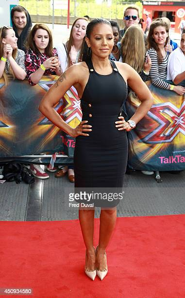 Melanie Brown arrives for the London Auditions of X Factor at Emirates Stadium on June 20 2014 in London England