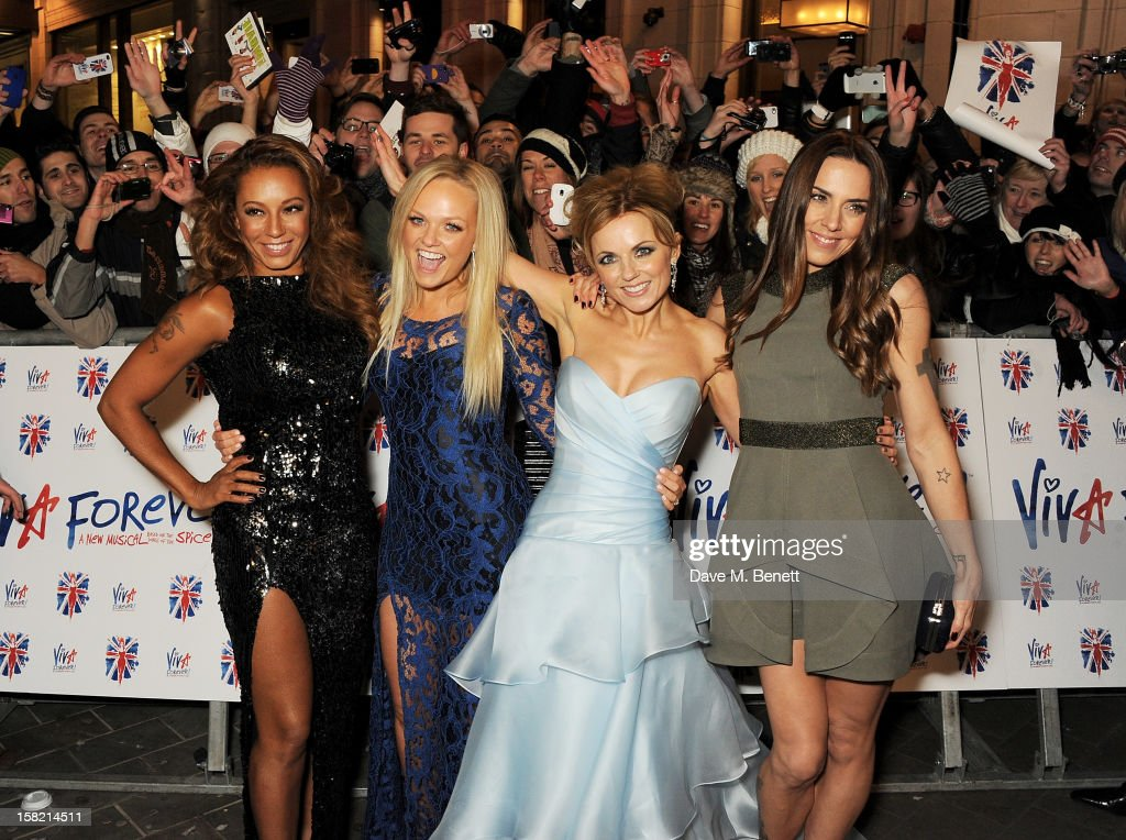 Melanie Brown, Emma Bunton, Geri Halliwell and Melanie Chisholm of The Spice Girls arrive at the Gala Press Night performance of 'Viva Forever' at the Piccadilly Theatre on December 11, 2012 in London, England.