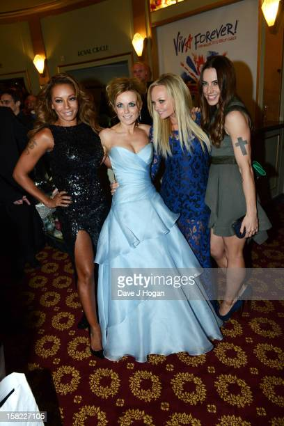 Melanie Brown Geri Halliwell Emma Bunton and Melanie Chisholm attend the 'Viva Forever' press night curtain call at The Piccadilly Theatre on...