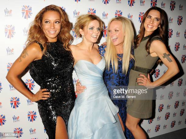 Melanie Brown Geri Halliwell Emma Bunton and Melanie Chisholm attend an after party celebrating the Gala Press Night performance of 'Viva Forever' at...