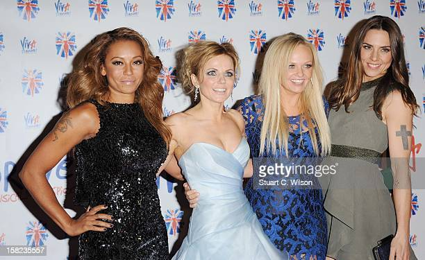 Melanie Brown Geri Halliwell Emma Bunton and Melanie Chisholm attend the after party for the press night of 'Viva Forever' a musical based on the...