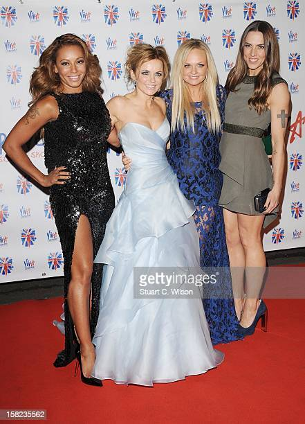 Melanie Brown, Geri Halliwell, Emma Bunton and Melanie Chisholm attend the after party for the press night of 'Viva Forever', a musical based on the...
