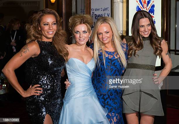 Melanie Brown Geri Halliwell Emma Bunton and Melanie Chisholm attend the press night of 'Viva Forever' a musical based on the music of The Spice...