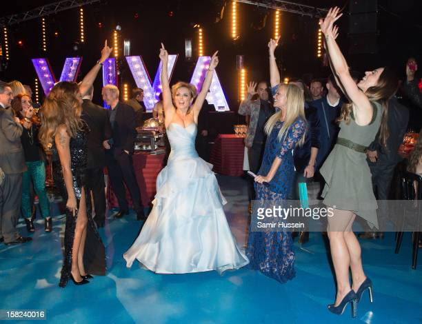 Melanie Brown Geri Halliwell Emma Bunton and Melanie Chisholm dance at the after party of 'Viva Forever' a musical based on the music of The Spice...