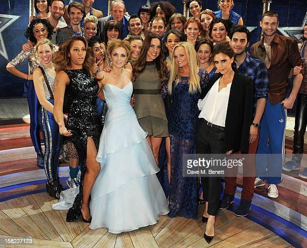 Melanie Brown, Geri Halliwell, Melanie Chisholm, Emma Bunton and Victoria Beckham pose with cast backstage at the Gala Press Night performance of...