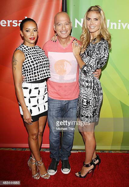 Melanie Brown, Howie Mandel and Heidi Klum arrive at the NBCUniversal's 2014 Summer Press Day held at Langham Hotel on April 8, 2014 in Pasadena,...