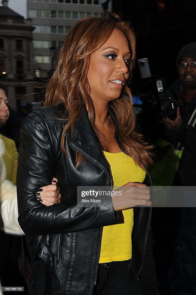 Melanie Brown is seen leaving the Viva Forever afternoon tea launch at Harvey Nichols on February 5, 2013 in London, England.