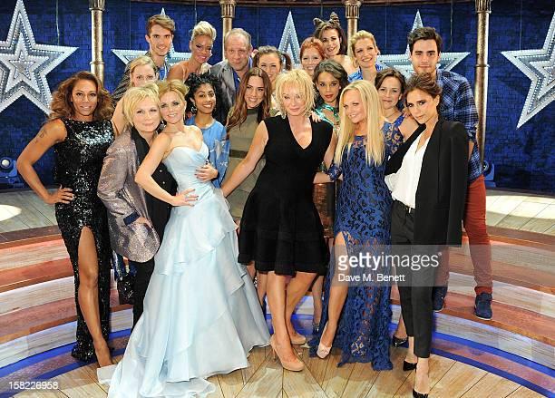 Melanie Brown, Jennifer Saunders, Geri Halliwell, Melanie Chisholm, Judy Craymer, Emma Bunton andVictoria Beckham pose with cast backstage at the...
