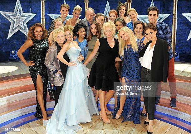 Melanie Brown, Jennifer Saunders, Geri Halliwell, Melanie Chisholm, Judy Craymer, Emma Bunton and Victoria Beckham pose with cast backstage at the...