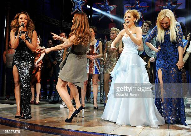 Melanie Brown, Melanie Chisholm, Geri Halliwell and Emma Bunton bow at the curtain call during the Gala Press Night performance of 'Viva Forever' at...