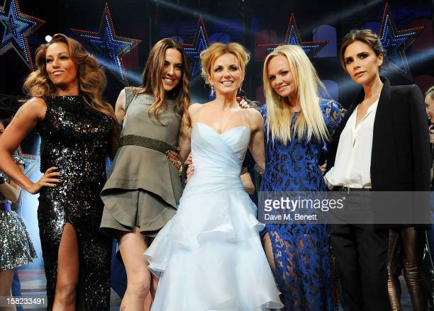 Melanie Brown, Melanie Chisholm, Geri Halliwell, Emma Bunton and Victoria Beckham bow at the curtain call during the Gala Press Night performance of...