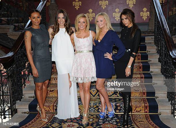Melanie Brown, Melanie Chisholm, Geri Halliwell, Emma Bunton and Victoria Beckham of The Spice Girls attend launch of new musical based on the Spice...