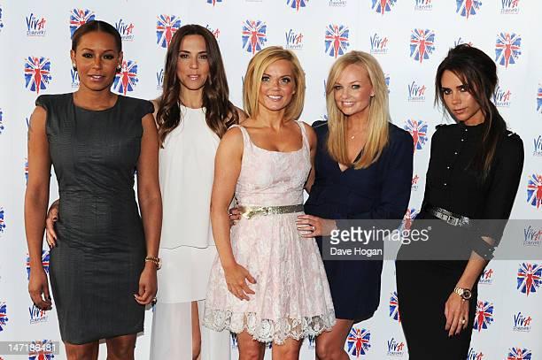 Melanie Brown Melanie Chisholm Geri Halliwell Emma Bunton and Victoria Beckham of the Spice Girls attend a press launch of new Spice Girls musical...