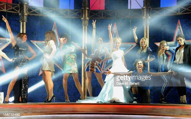 Melanie Brown, Melanie Chisholm, Geri Halliwell, Emma Bunton and Victoria Beckham pose with cast members Siobhan Athwal, Hannah John-Kamen, Lucy...