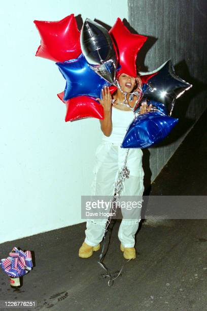 Melanie Brown of The Spice Girls celebrate as their single Viva Forever goes to number one in the charts, their seventh number one record, London,...