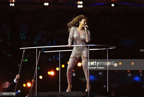 Melanie Brown of The Spice Girls during the Closing Ceremony on Day 16 of the London 2012 Olympic Games at Olympic Stadium on August 12 2012 in...