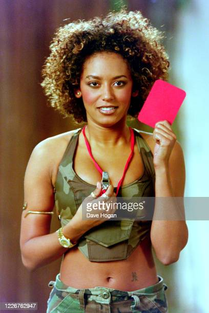 """Melanie Brown of The Spice Girls records the video for the single """" On Top of the World"""", England's official song for the 1998 Fifa World Cup,..."""