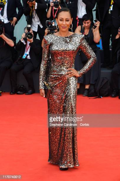 Melanie Brown walks the red carpet ahead of the opening ceremony during the 76th Venice Film Festival at Sala Casino on August 28 2019 in Venice Italy