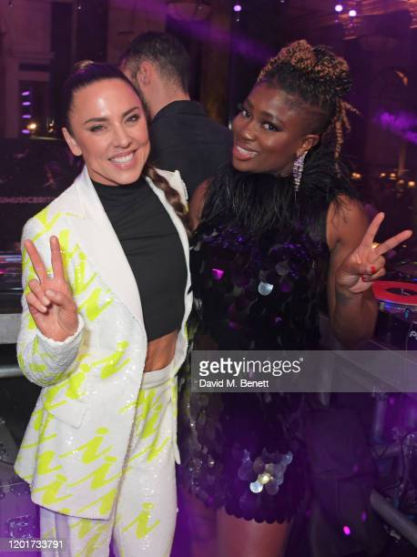 Melanie C aka Sporty Spice and Clara Amfo attend the Universal Music BRIT Awards afterparty 2020 hosted by Soho House PATRON at The Ned on February...
