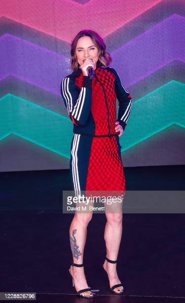 """Melanie C aka Sporty Spice poses during her live stream """"Melanie C: Colour & Light"""" on October 1, 2020 in London, England."""