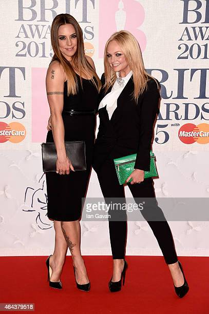 Melanie C and Emma Bunton attend the BRIT Awards 2015 at The O2 Arena on February 25 2015 in London England