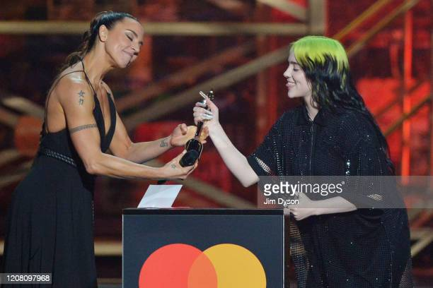 Melanie C presents Billie Eilish with the International Female Solo Artist award during The BRIT Awards 2020 at The O2 Arena on February 18, 2020 in...