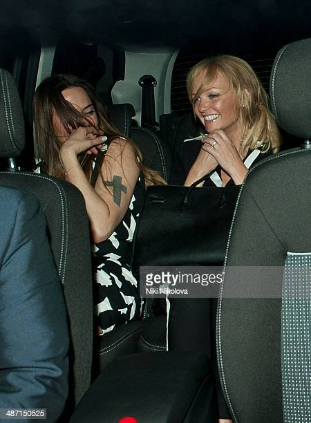 Melanie Chisholm and Emma Bunton are seen leaving the Arts Club Mayfair on April 27 2014 in London England