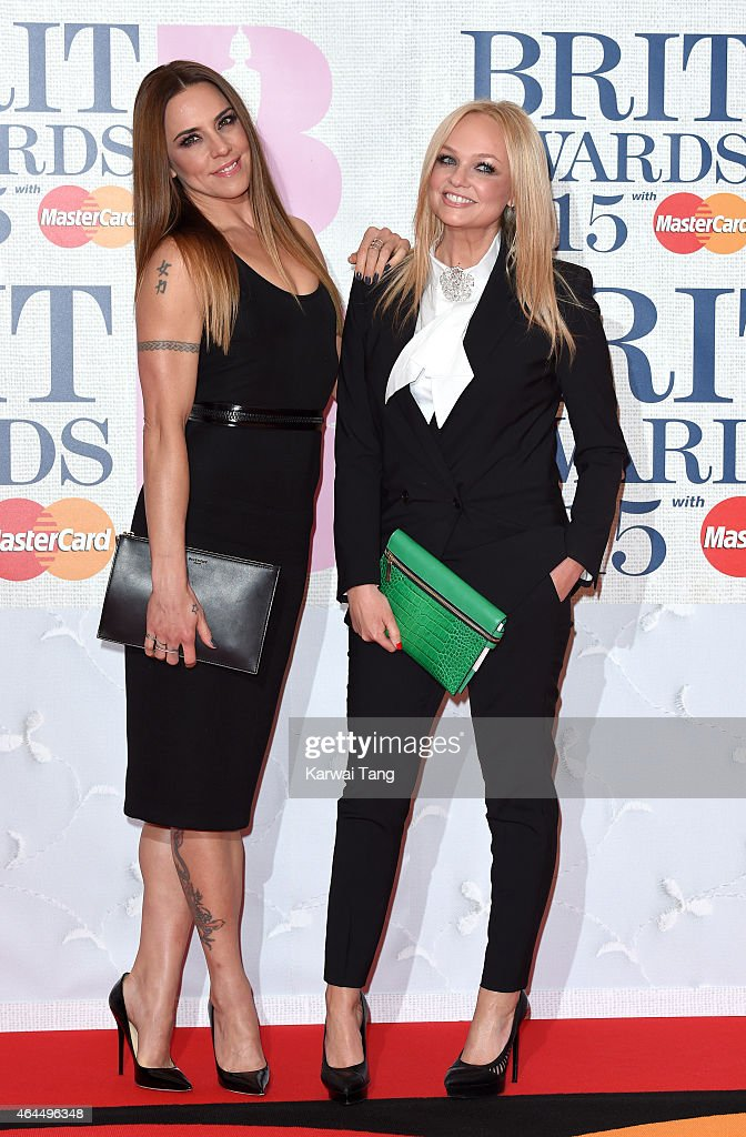 Melanie Chisholm and Emma Bunton attend the BRIT Awards 2015 at The O2 Arena on February 25, 2015 in London, England.