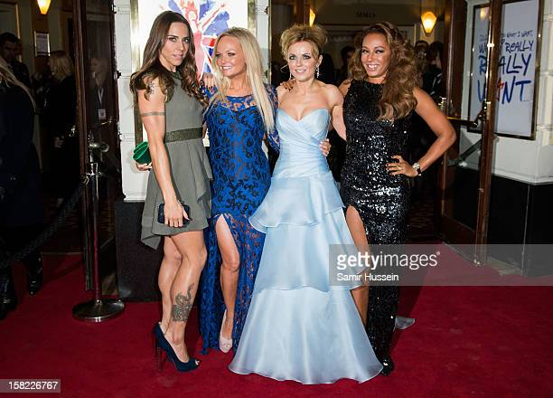 Melanie Chisholm Emma Bunton Geri Halliwell and Melanie Brown attend the press night of 'Viva Forever' a musical based on the music of The Spice...