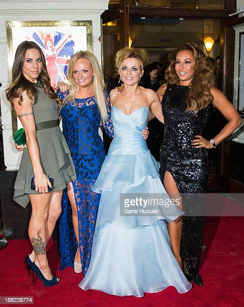 Melanie Chisholm, Emma Bunton, Geri Halliwell and Melanie Brown attend the press night of 'Viva Forever', a musical based on the music of The Spice...