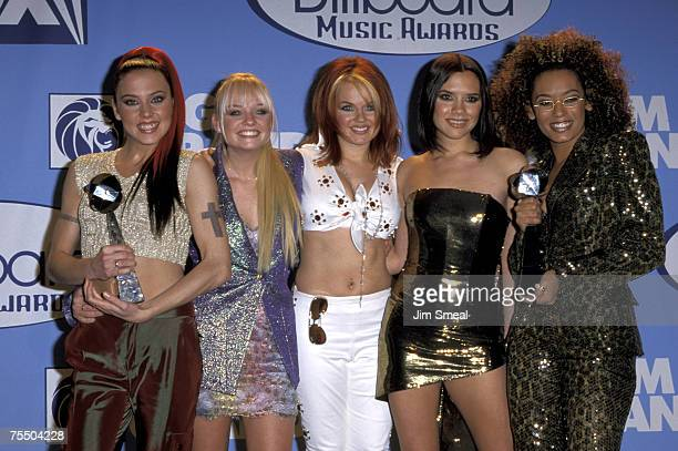 Melanie Chisholm Emma Bunton Geri Halliwell Victoria Beckham and Melanie Brown of The Spice Girls at the MGM Grand Hotel in Las Vegas Nevada