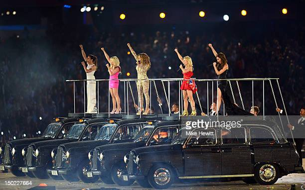Melanie Chisholm Emma Bunton Melanie Brown Geri Halliwell and Victoria Beckham of The Spice Girls perform during the Closing Ceremony on Day 16 of...