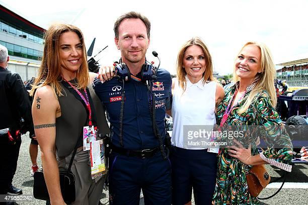 Melanie Chisholm Infiniti Red Bull Racing Team Principal Christian Horner Geri Horner and Emma Bunton pose on the grid before the Formula One Grand...