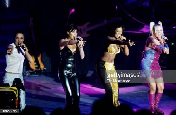 Melanie Chisholm Victoria Beckham Melanie Brown and Emma Bunton of The Spice Girls perform at Shoreline Amphitheatre on August 13 1998 in Mountain...