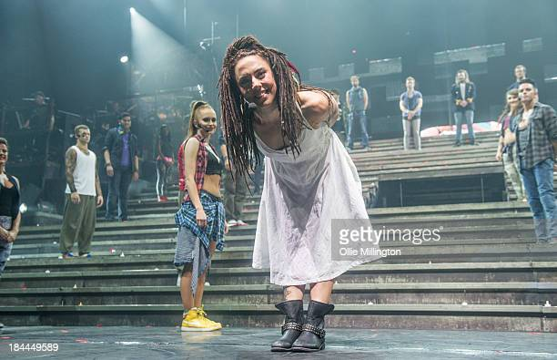 Melanie Chisholm who performs on stage as Mary Magdalene takes a bow during the curtain call onstage at O2 Arena on October 13 2013 in London England