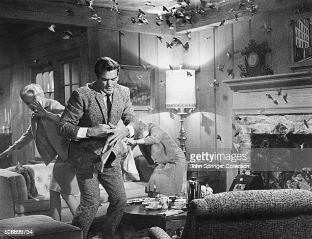 Melanie Daniels and Mitch Brenner and Lydia Brenner fight off a bird attack in Alfred Hitchcock's The Birds.