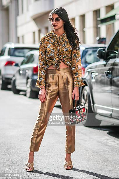 Melanie Darmon is seen outside the Valentino show during Paris Fashion Week Spring Summer 2017 on October 2 2016 in Paris France