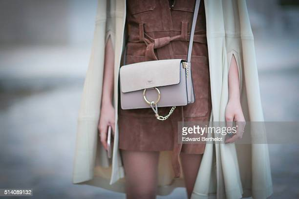 Melanie Darmon is wearing a Chloe bag after the Akris show during Paris Fashion Week Womenswear Fall Winter 2016/2017 on March 6 2016 in Paris France