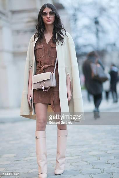 Melanie Darmon is wearing a Chloe bag after the Akris show during Paris Fashion Week Womenswear Fall Winter 2016/2017 on March 6 2016 in Paris France
