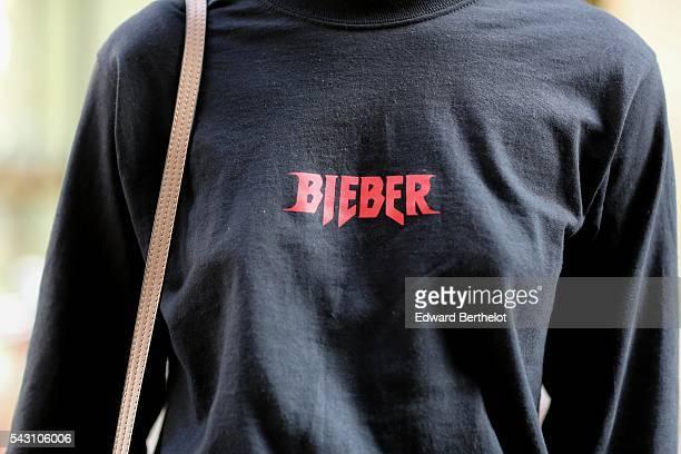 Melanie Darmon is wearing Chloe sunglasses, a Chloe bag, Chloe shoes, a Justin Bieber top, and Levis denim skirt, after the Henrik Vibskov show,...