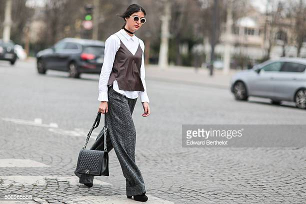 Melanie Darmon wearing a Chanel bag before the Chanel show during Paris Fashion Week Haute Couture Spring Summer 2016 on January 26 2016 in Paris...