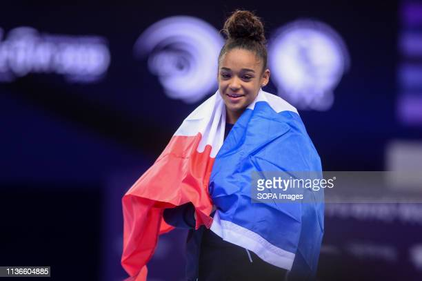 Melanie De Jesus Dos Santos from France seen after winning the competition during the Women's AllAround Final of 8th European Championships in...