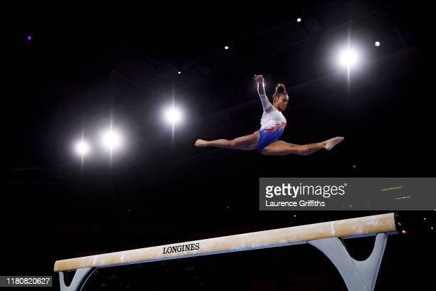 Melanie De Jesus Dos Santos of France competes on Balance Beam during the Apparatus Finals on Day 10 of the FIG Artistic Gymnastics World...