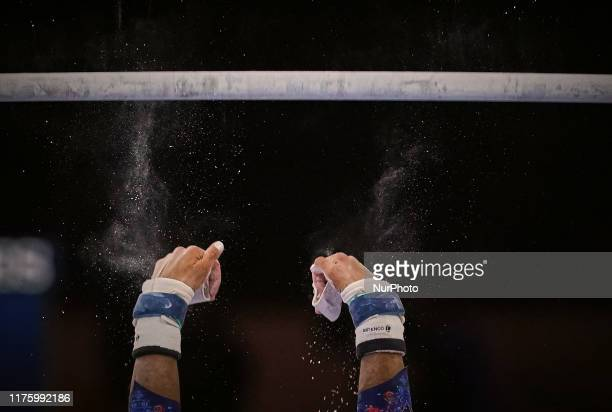 Melanie De Jesus Dos Santos of France during uneven bars for women at the 49th FIG Artistic Gymnastics World Championships in Hanns Martin Schleyer...