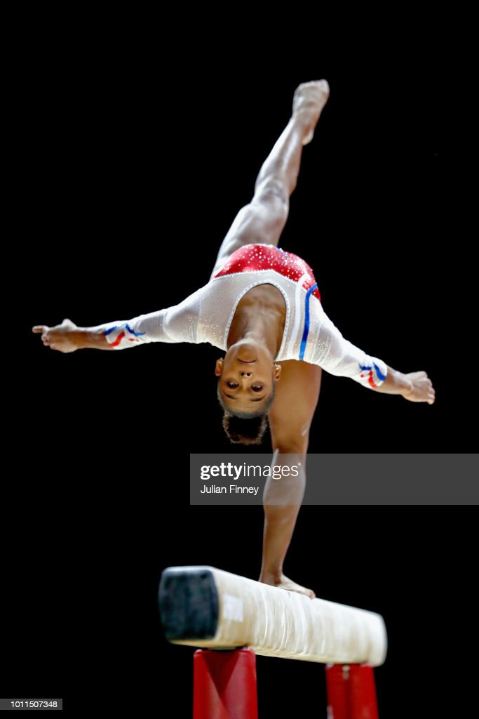 Melanie De Jesus of France competes in the Women's Individual Beam Final during the gymnastics on Day Four of the European Championships Glasgow 2018 at The SSE Hydro on August 5, 2018 in Glasgow, Scotland.