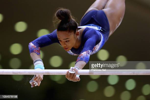 Melanie De Jusus Dos Santos of France competes in the Women's Uneven Bars Qualification during day four of the 2018 FIG Artistic Gymnastics...