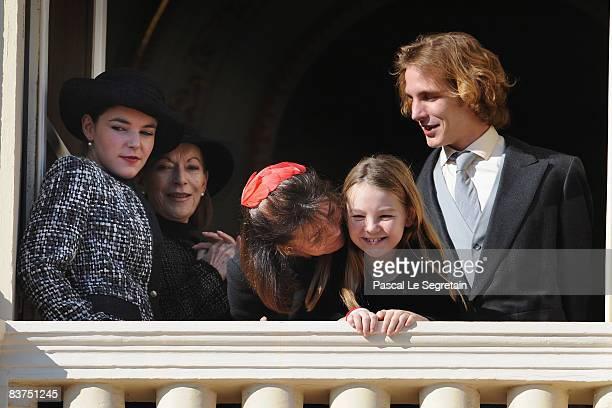 Melanie De Massy Elisabeth Ann De Massy Princess Caroline of Hanover Princess Alexandra of Hanover and Andrea Casiraghi attend the Army Parade as...