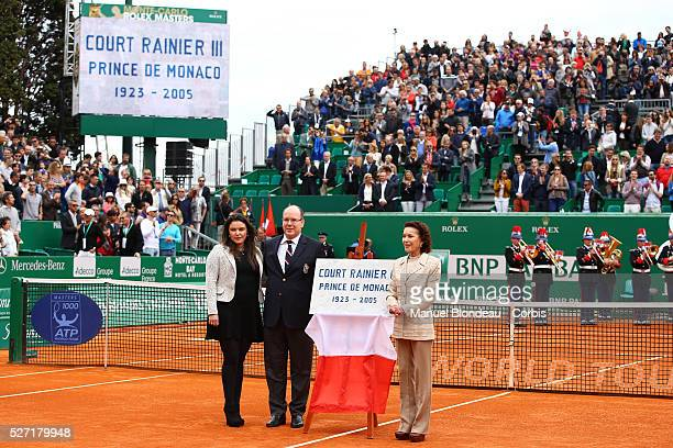 Melanie de Massy Prince Albert II of Monaco and ElisabethAnne de Massy inaugurate the 'Court Rainier III' before the final during day eight of the...